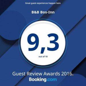 Booking.com Guest Review Award 2016. Bos-Inn scoort een 9,3